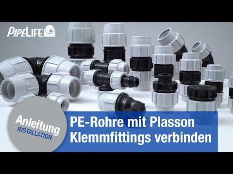 Verbindung von PE-Rohren mit Plasson Klemmfittings