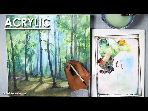 Misty Forest : Acrylic Landscape Painting | step by step