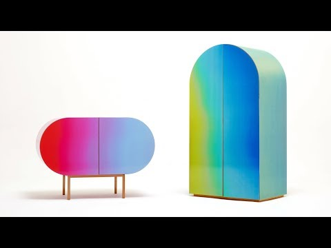 Orijeen's rainbow-hued furniture uses lenticular surfaces to change colour