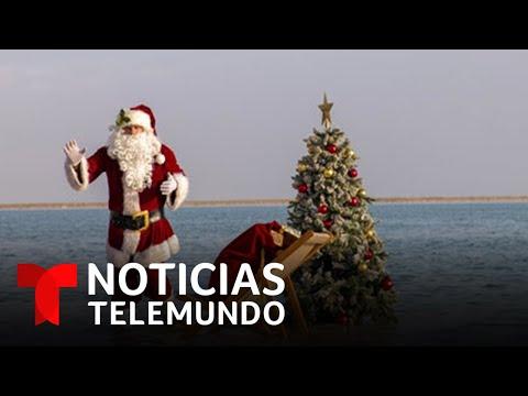 Papá Noel hace su primera aparición de este año y en el lugar menos esperado | Noticias Telemundo