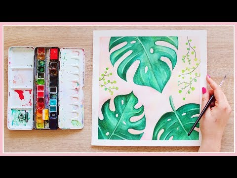 How to Paint Monstera Leaves with Watercolors for Beginners | Art Journal Thursday Ep. 33