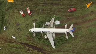 Russia: Drone Captures Aftermath of Ural Airlines Airbus A321 Hard Landing in Moscow Region