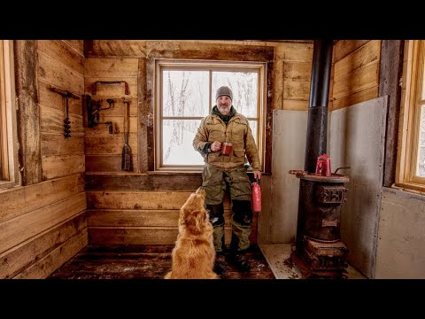 Installing a Wood Stove and Oak Flooring in an Off-Grid Tiny Log Workshop