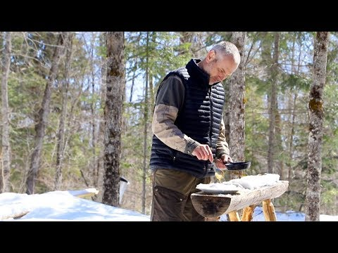 Spring at the Log Cabin   Pancakes with Hot Maple Blueberry Syrup   ASMR