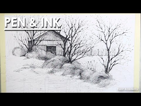 Pen & Ink Drawing Landscape : A Composition on A Barn | step by step strokes to follow