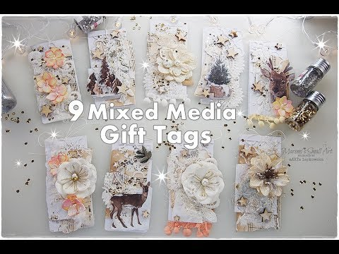 9 Mixed Media Winter Christmas Gift Tags ♡ Maremi's Small Art ♡