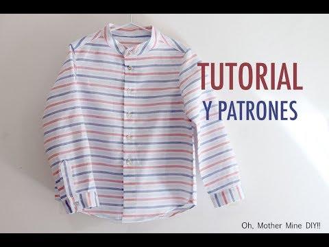 Como hacer camisa de cuello maho (patrones gratis talla hasta 9 años))