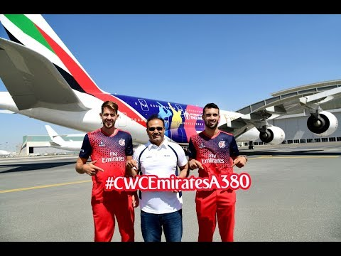 Virender Sehwag launches the CWC19 Emirates A380! ✈️