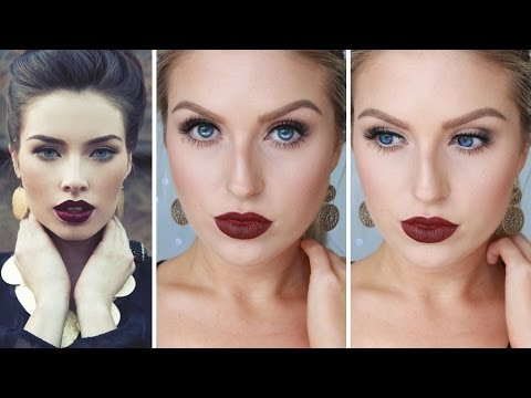 Glam Fall/Autumn Makeup ♡ Bold Dark Red Lips - Shaaanxo - UCMpOz2KEfkSdd5JeIJh_fxw