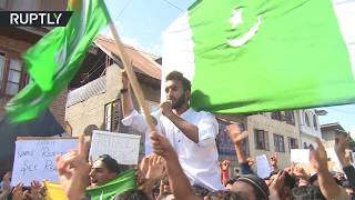 Protesters chanting anti-Indian slogans during march for 'independent Kashmir'
