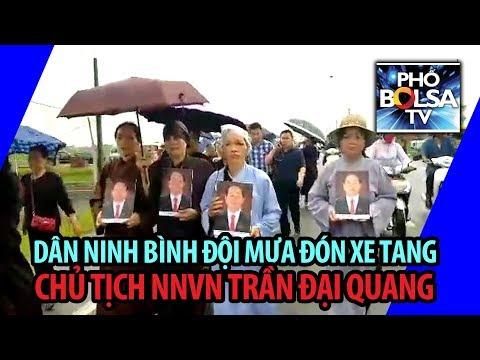 Dân Ninh Bình đội mưa đón xe tang Chủ tịch NNVN Trần Đại Quang
