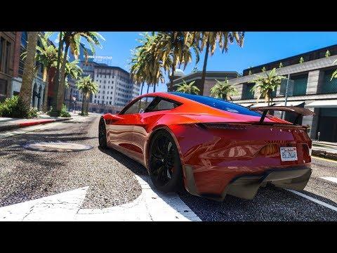 CRAZY REAL LIFE CAR STUNT! - (GTA 5 Tesla Roadster Mod) - default
