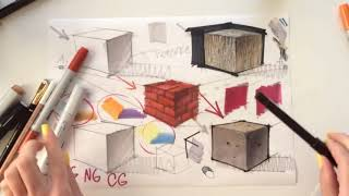 ✏️HOW TO DRAW 5 TEXTURES: interior sketching, step-by-step (concrete, wood, brick, leather, metal)