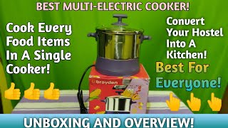 Braden kooko 1.5 litre multi-cooker and electric kettle Unboxing And overview | Best electric cooker
