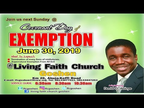 COVENANT DAY OF EXEMPTION  2ND SERVICE JUNE 30, 2019