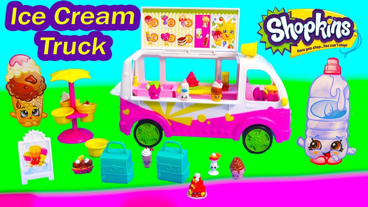 Shopkins Season 3 Scoops Ice Cream Truck Playset Food Fair Van Car Exclusive Fun Toy Video Unboxing