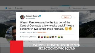 Twitter Debates Over Pant's Selection In WC Squad