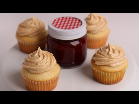 Peanut Butter & Jelly Cupcakes Recipe - Laura Vitale - Laura in the Kitchen Episode 403 - UCNbngWUqL2eqRw12yAwcICg