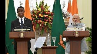 PM Shri Narendra Modi and President of Zambia, Edgar Lungu at a joint press meet in New Delhi.