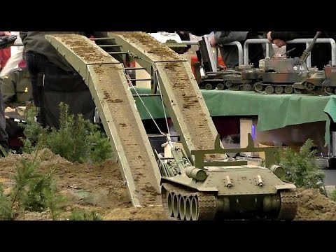 BIG RC MODEL TANK COLLECTION SCALE 1:8 MILITARY VEHICLES IN ACTION / Intermodellbau Dortmund 2016 - default