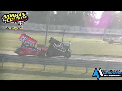 Norman County Raceway IMCA Racesaver Sprint Races (6/10/21) - dirt track racing video image