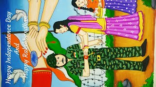 Independence Day and Rakshabandhan special painting /Sisters tying Rakhi to their soldier brother