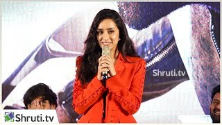 Actress Shraddha Kapoor cute speech | Saaho Press Meet in Chennai