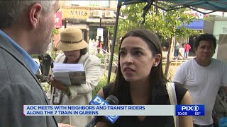 Alexandria Ocasio-Cortez meets with neighbors along the 7 train