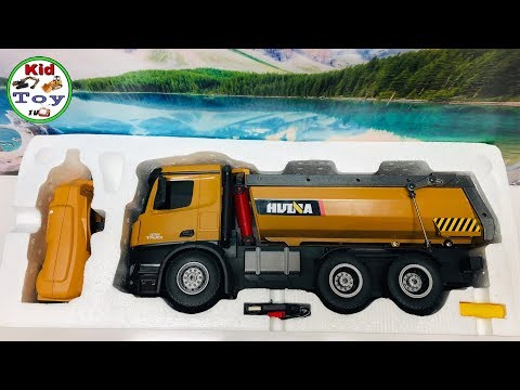 KID TOY TV|| RC DUMP TRUCK HUINA 573 UNBOXING || RC TOY REVIEW AND TESTED || FIRST TIME GET DIRT