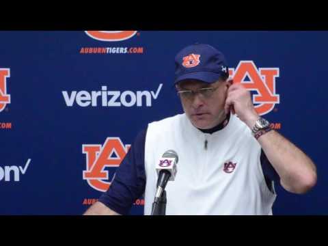 Coach Gus Malzhan gives a postgame interview following Auburn's 23-16 win over Vanderbilt.