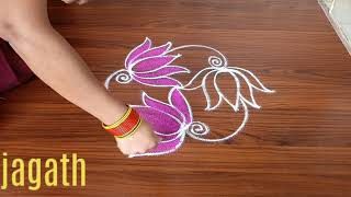 #SIMPLE LOTUS MUGGULU WITH 3DOTS |BENINNERS KOLAMS | 3DOTS RANGOLI | MADE ASY TO DRAW FOR EVERYONE