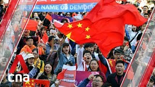 Pro Beijing supporters rally in Sydney to criticise Hong Kong protests