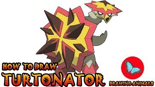 How To Draw Turtonator Pokemon | Drawing Animals