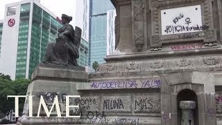 Anti-Rape Protests Vandalize Mexico City's Famous Angel Of Independence Monument | TIME