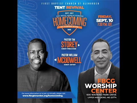 Tent Revival featured guest artist William McDowell and guest preacher Pastor Tim Storey.