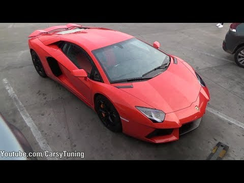 Lamborghini Aventador LP700-4 with Akrapovic Exhaust LOUD Flames!