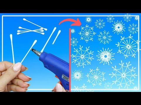 3 ИДЕИ Как сделать Снежинки из ватных палочек / COTTON SWABS SNOWFLAKES / DIY NataliDoma