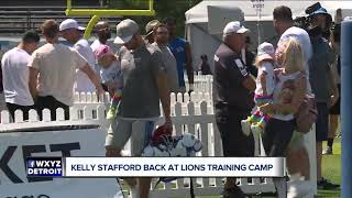 Kelly Stafford smiling in return to Lions training camp