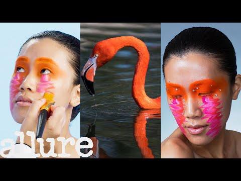 3 Makeup Artists Turn a Model Into a Flamingo | Allure