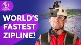 Graeme Swann & Shane Williams take on world's fastest zip line!