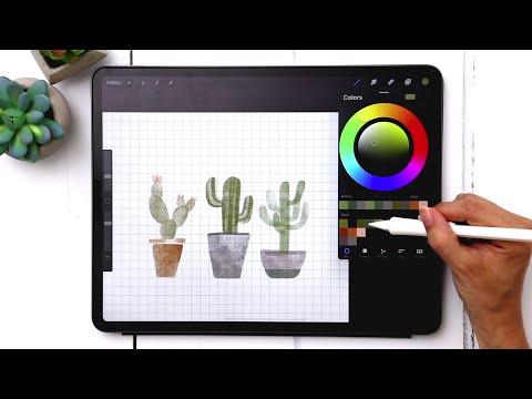 Paint 3 Watercolor Cactus Doodles in Procreate