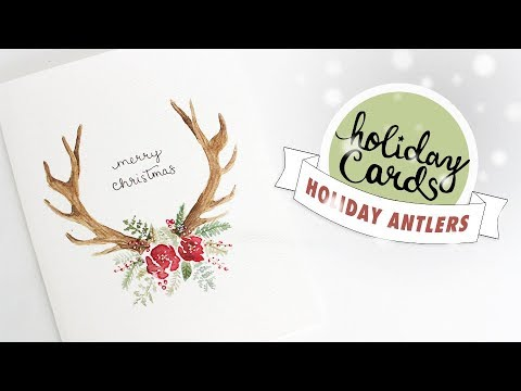 HOLIDAY CARD #3: Floral Antlers Christmas Card Watercolor Tutorial