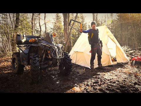 ATV Camping in a CANVAS TENT with a WOODSTOVE. BACON, 🥓, and more BACON! can am RENEGADE camping!
