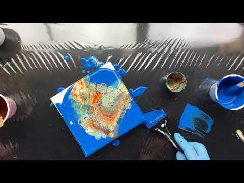 ( 696 ) 15 cm x 15 cm acrylic pour Cerulean Blue Hue