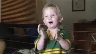 2 Year old Springbok supporter shows how to sing the South African National Anthem