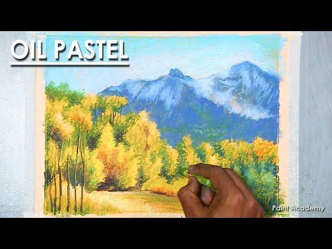 Oil Pastel Mountain Landscape Drawing | Jungle under the mountains