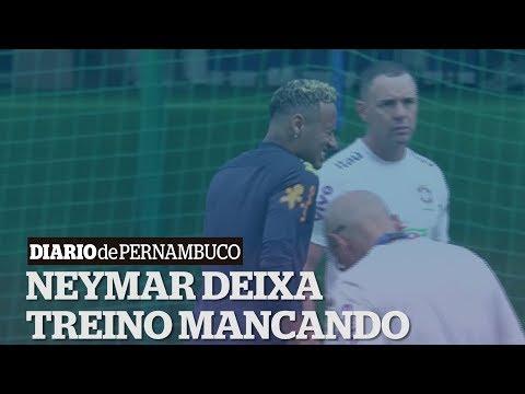 O atacante Neymar deixou o treino da seleção brasileira desta terça-feira