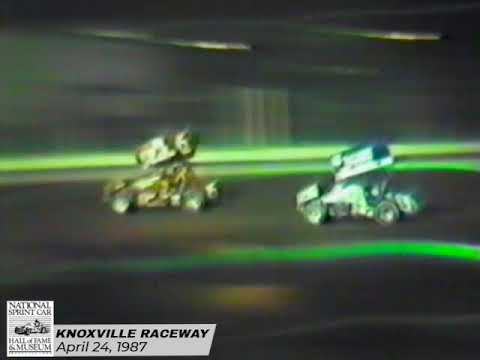 Brad Doty spanks the field on the opening night of the 1987 season at Knoxville. This is the first of a two-day World of Outlaws event. - dirt track racing video image