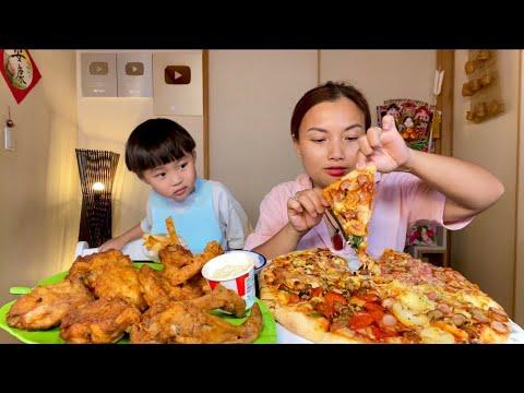 Ngất ngây mâm gà rán KFC & Pizza 4 vị tràn ngập phô mai #986