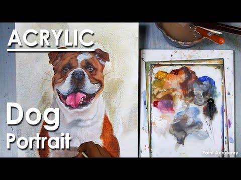 How to Paint A Dog Portrait in Acrylic | step by step